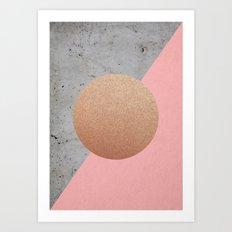 Abstract Shapes Rose Gold Art Print