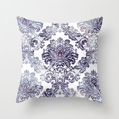 Blueberry Damask Throw Pillow