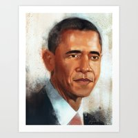 obama Art Prints featuring Obama by NArtist_P3rhaps
