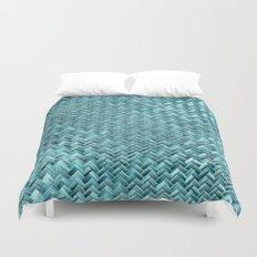 Cute Elegant Teal Turquoise Basket Weave Pattern Duvet Cover