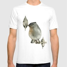 Grey Birdy Mens Fitted Tee White SMALL