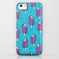 iPhone 5c Cases featuring Bite Me - popsicle throwback 80s style memphis dots pattern trendy hipster summer ice cream by Wacka
