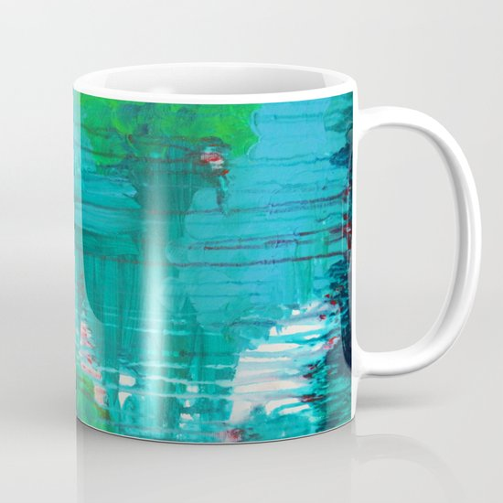 BLUE MONSOON - Stunning Rain Storm Dark Teal Clouds Navy Royal Blue Kelly Green Crimson Red Purple Mug