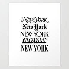 New York New York Newsprint Typographic Art Print