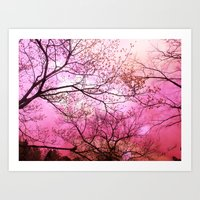 Surreal Pink Trees Natur… Art Print