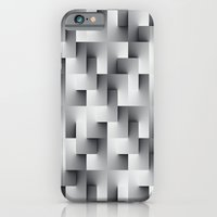 iPhone Cases featuring Monochrome Layers of Squares by Janice Austin Designs