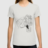 Caged Womens Fitted Tee Silver SMALL