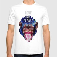 Monkey Need Love Mens Fitted Tee White SMALL