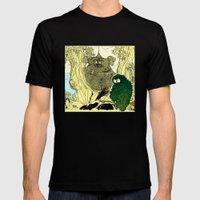 Leaf Owl & The Cuddling Koalas. Mens Fitted Tee Black SMALL