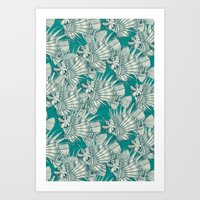 Fish Mirage Teal Art Print