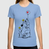 Papa Bear & Baby Bear Womens Fitted Tee Tri-Blue SMALL