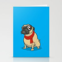 Pug with a scarf Stationery Cards