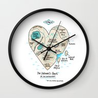 Wall Clock featuring A Map Of The Introvert's… by Gemma Correll