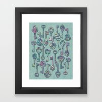 Pastel Skeleton Keys Framed Art Print