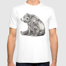 Bear // Graphite SMALL Mens Fitted Tee White