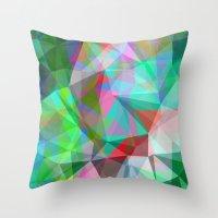 Green Crystal Depth Throw Pillow