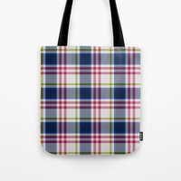 Plaid Navy Blue And Red Tote Bag