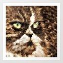 Painted angry looking persian cat head Art Print