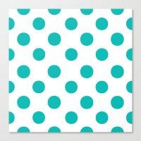 Polka Dots (Tiffany Blue/White) Canvas Print