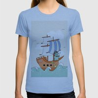 Dinosaur on a ship Womens Fitted Tee Athletic Blue SMALL