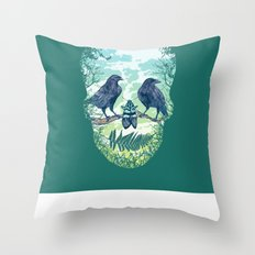 Nature's Skull (Green) Throw Pillow
