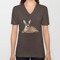 Portrait Of A Small Fawn… Unisex V-Neck