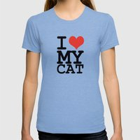 I Love My Cat Womens Fitted Tee Tri-Blue SMALL