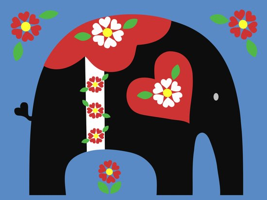 Dala Elephant-Black Art Print