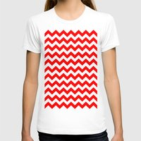 chevron T-shirts featuring Chevron (Red/White) by 10813 Apparel