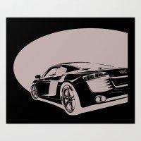 Audi R8, Black & White Art Print
