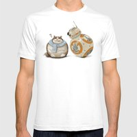 CAT AND DROID Mens Fitted Tee White SMALL