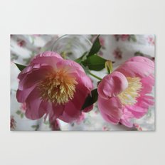 Pink Partner Peonies Canvas Print