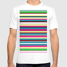 Stripes White SMALL Mens Fitted Tee