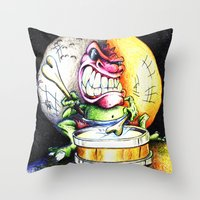 Green Drummer Crazy Mask Throw Pillow