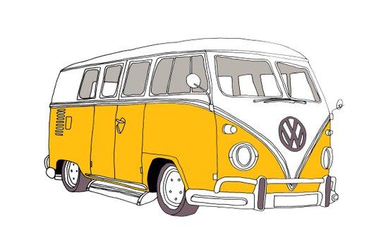 Yellow Volkswagen Camper Van (Landscape) (Kombi // VW) Art Print