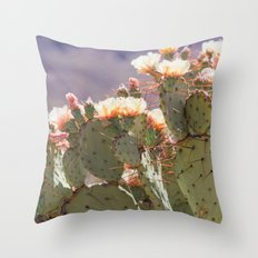 Prickly Pear Blooms I Throw Pillow
