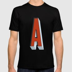 Letter A Mens Fitted Tee SMALL Black