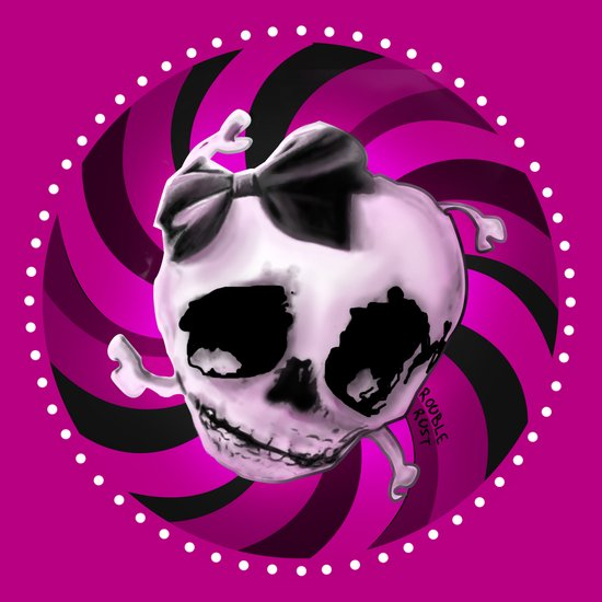 Girly Pink Skull with Black Bow Art Print