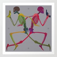 Running Skeleton with Banana n Gun Art Print