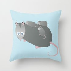 Adorable Mommy Possum Throw Pillow