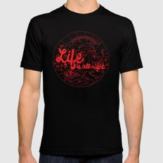 Life is All Right (RED) Mens Fitted Tee Black SMALL