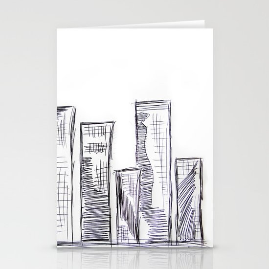 The City - Original Pen Ink Sketch Stationery Card