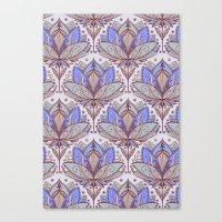 Art Deco Lotus Rising 2 - sage grey & purple pattern Canvas Print