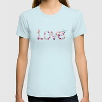 SPRING FLORAL LOVE Womens Fitted Tee Light Blue SMALL