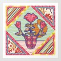 Spring Friends Quilt Block - Squirrel and Flowers - Folk Art Art Print