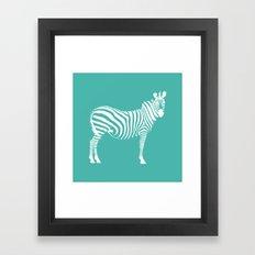 Big Teal Zebra Framed Art Print