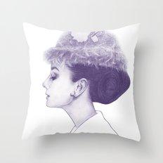 Audrey Hepburn in Purple  Throw Pillow