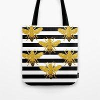 Bee Art in gold glitter effect Tote Bag