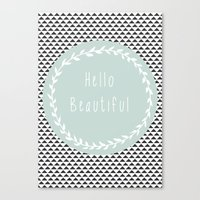 Hello Beautiful, Geometr… Canvas Print