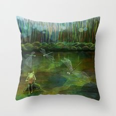 Frog on his Rock Throw Pillow
